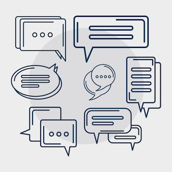 Seven gray chat icons