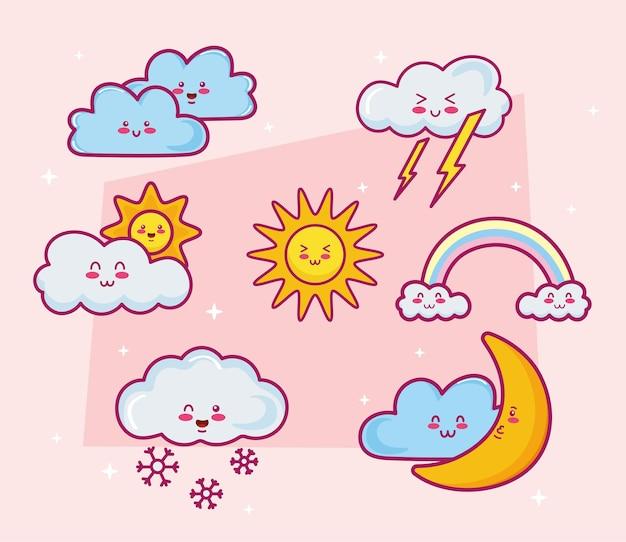 Seven kawaii clouds characters