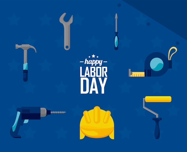 Seven labor day icons