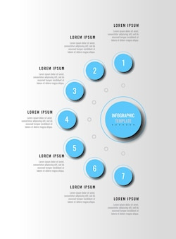 Seven light blue infographic elements with shadow in vertical diagram on a white background