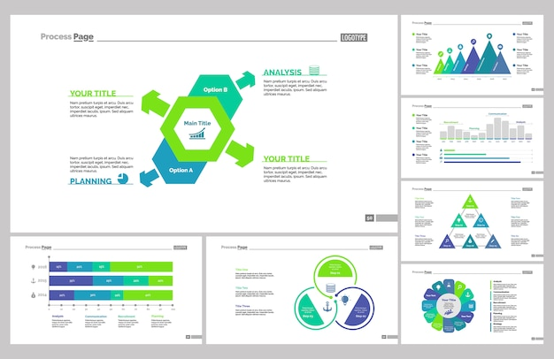 Seven marketing slide templates set