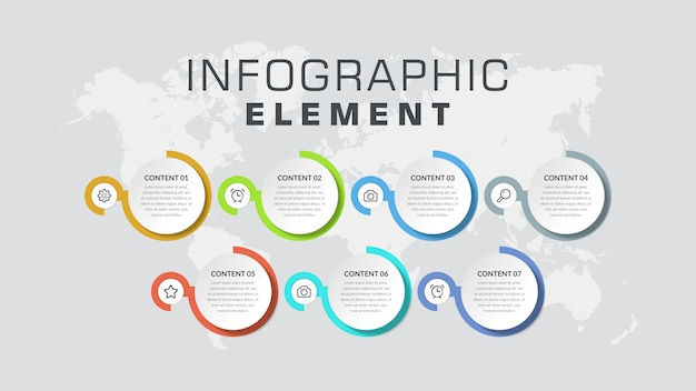 Seven point infographic element business strategy