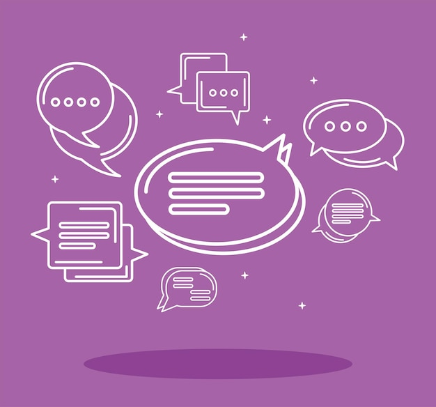 Seven purple chat icons