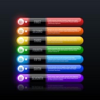 검은 광택 배경에 깨끗한 하이테크 스타일의 7 가지 레인보우 옵션
