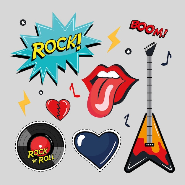 Seven rock and roll stickers