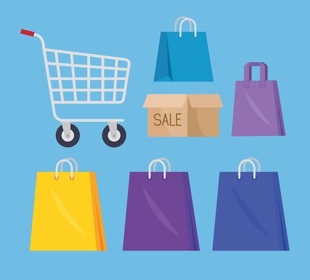 Seven shopping market icons