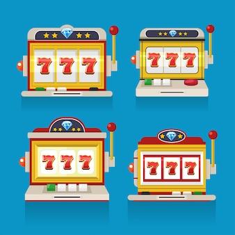 Seven spin slot machine casino flat design.