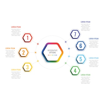 Seven steps 3d infographic template with hexagonal elements. business process template with options