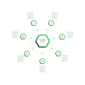 Seven steps circular infographic template with green hexagonal elements on a white background