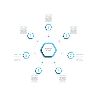 Seven steps circular infographic template with light blue hexagonal elements on a white background