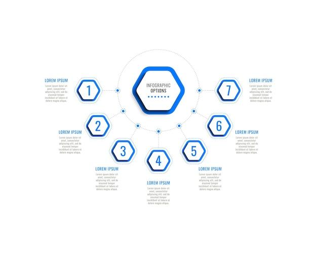 Семь шагов горизонтального инфографического шаблона с синими шестиугольными элементами на белом фоне