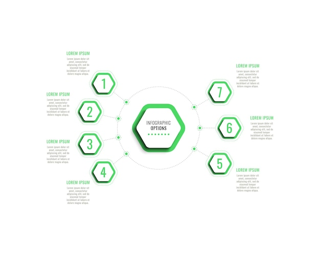 Seven steps infographic template with green hexagonal elements with shadow on a white background