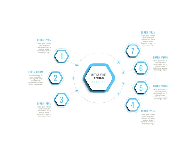 Seven steps infographic template with light blue hexagonal elements with shadow on white background