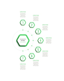 Seven steps vertical infographic template with green hexagonal elements on a white background