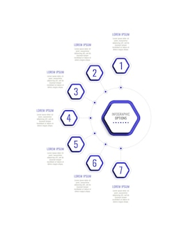 Seven steps vertical infographic template with violet hexagonal elements on a white background