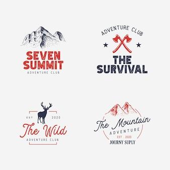 七大陸最高峰の山のロゴのコンセプト