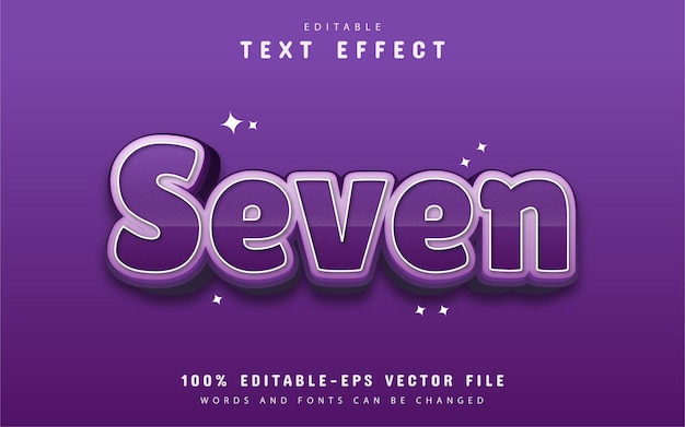 Seven text effect with purple gradient