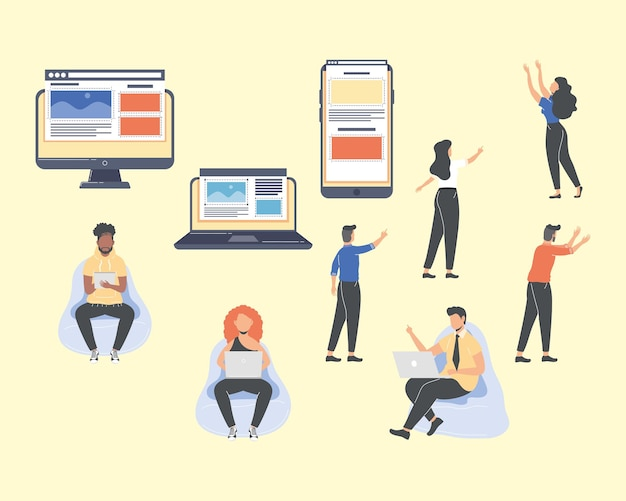 Seven web designers workers characters
