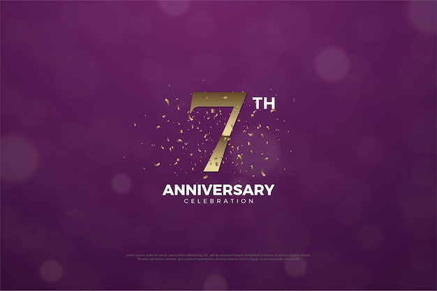 숫자와 밝아진 7 주년 기념 배경