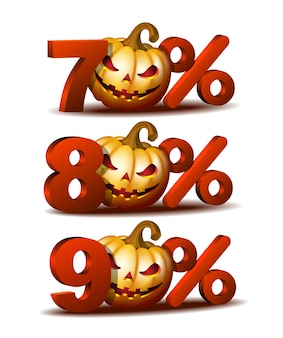 Seventy, eighty and ninety percent discount icon with scary jack o lantern halloween pumpkin