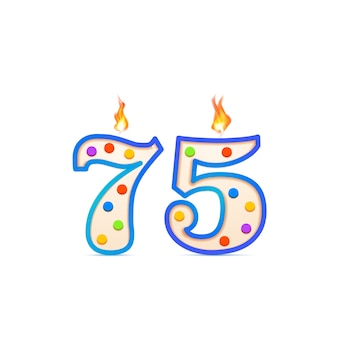 Seventy five years anniversary, 75 number shaped birthday candle with fire on white