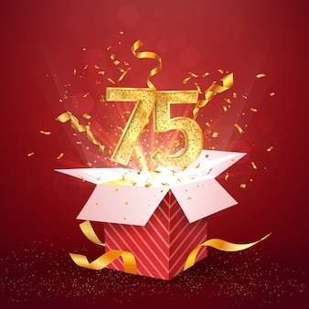 Seventy five years number anniversary and open gift box with explosions confetti isolated design element