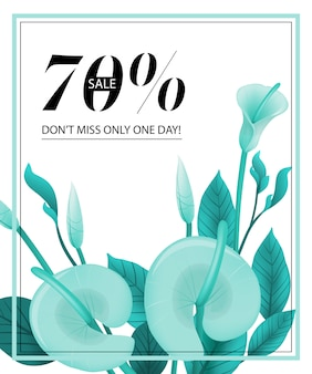 Seventy percent sale, do not miss only one day coupon with mint calla lily and frame.