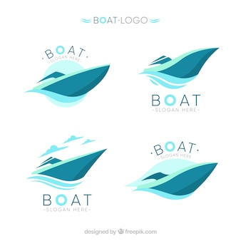 Several abstract boat logos in blue tones