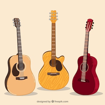 Several acoustic guitars