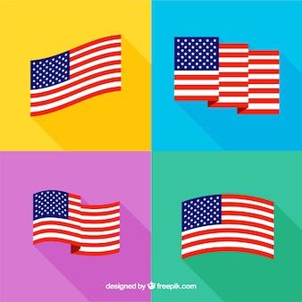 Diverse bandiere americane in design piatto