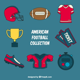 Several american football items in flat design