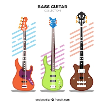 Several bass guitars with different designs
