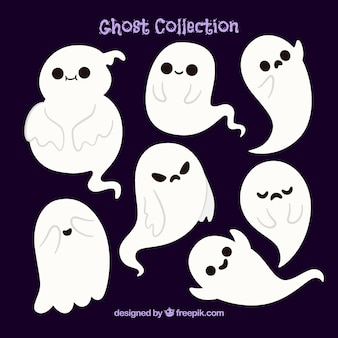 Several beautiful halloween ghosts