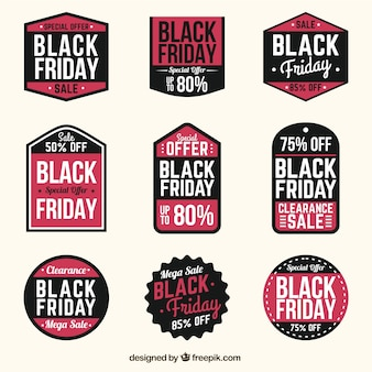 Several black friday labels with special discounts