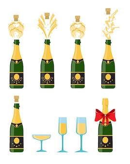 Several bottles of champagne being opened