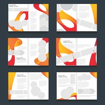 Several brochures templates of colored waves