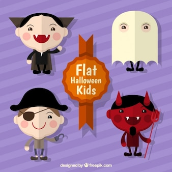 Several children with costumes in flat style
