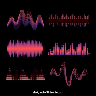 Several colored abstract sound waves