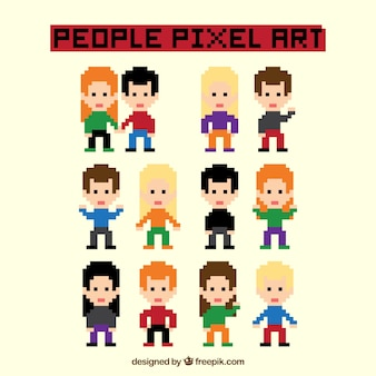 Several colored characters pixelated