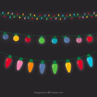 いくつかの着色されたクリスマスイルミネーション