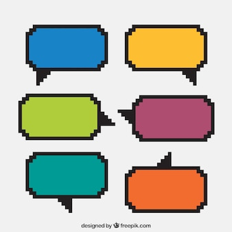 Several colored pixelated speech bubbles