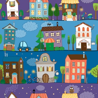 Several colorful and cute house designs at different times of the day