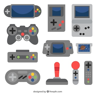 Several consoles and remote control in flat design