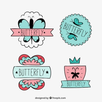 Several decorative stickers of hand-drawn butterflies