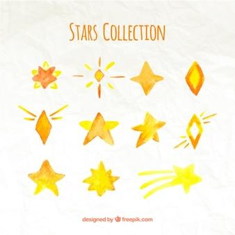 Several decorative watercolor stars