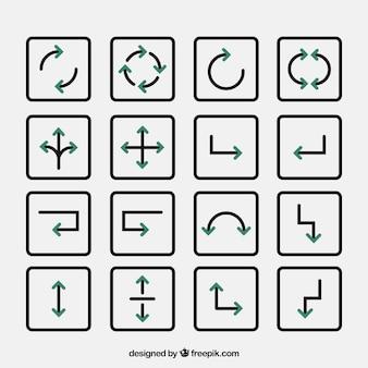 Diverse le frecce di direzione con dettagli verdi