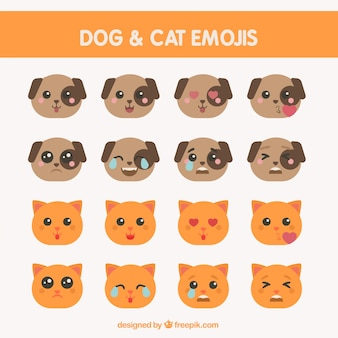 フラットなデザインのいくつかの犬や猫の顔文字