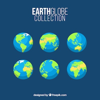 Several earth globes in flat design