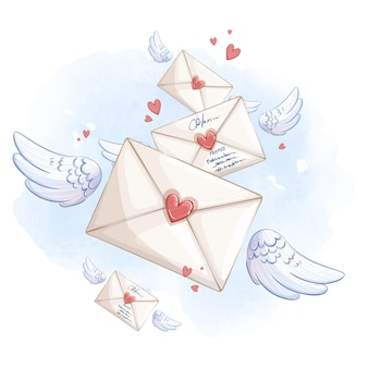 푸른 하늘에 날개에 비행 여러 봉투. 로맨틱 벡터 구성.