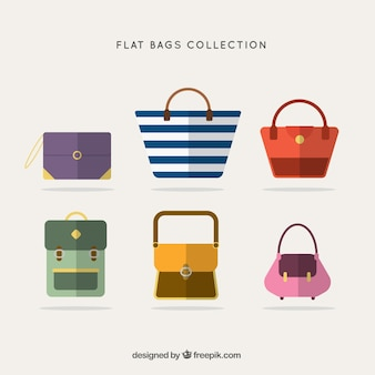 Several flat bags with different designs